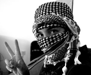 Palestinian Wearing a Keffiyeh