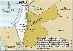 Map 2: British Mandate of Palestine post-Transjordan Split